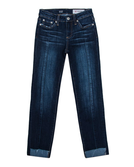 Maddie Step-Hem Straight-Leg Front-Seam Jeans, Size 7-14