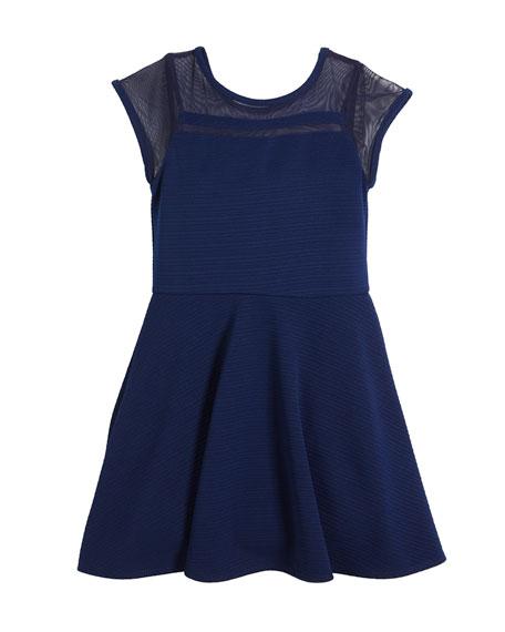 Sally Miller Lauren Textured Cap-Sleeve Dress w/ Sheer