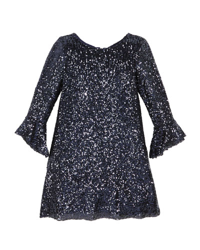 Tina Sequin Knit Dress, Size 7-16