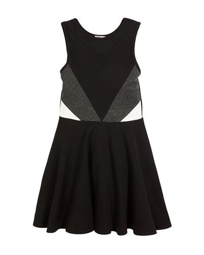 Cassie Colorblock Mesh-Insert Dress, Size S-XL