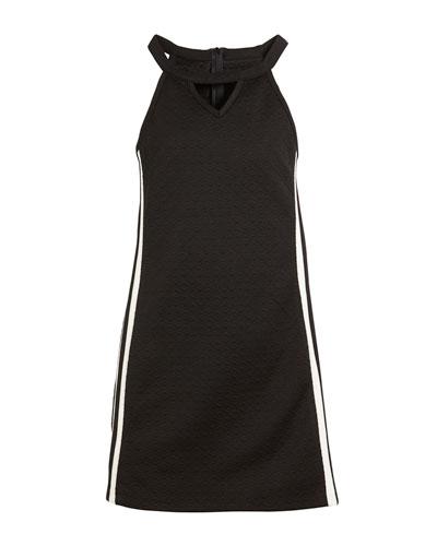 Sally Racer Stripe-Sides Textural Dress, Size S-XL