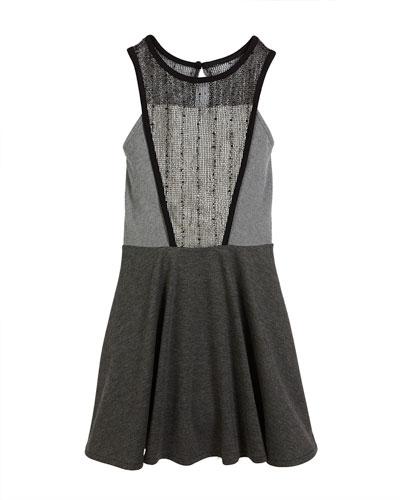 Catee Mesh-Panel Dress, Size S-XL