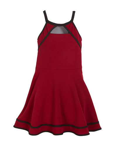Shay Fit-and-Flare Dress w/ Contrast Piping, Size S-XL