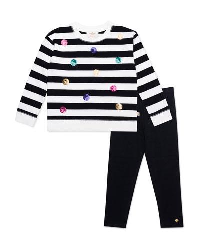 striped sequin dot sweatshirt w/ solid leggings, size 2-6x