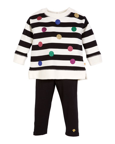 striped sequin dot sweatshirt w/ solid leggings, size 12-24 months
