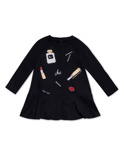 glamour collage long-sleeve dress, size 2-6x