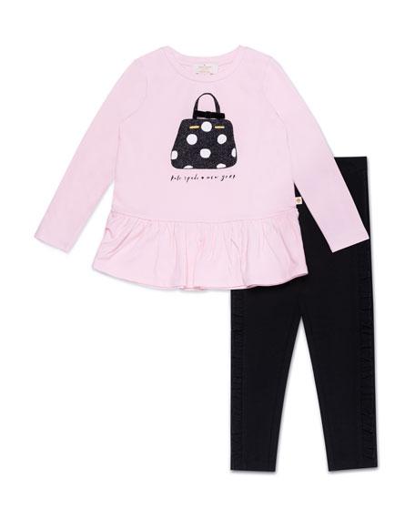 kate spade new york handbag-print top w/ ruffle-trim