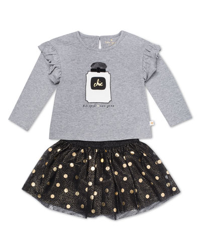 chic ruffle-trim top w/ metallic polka-dot skirt, size 12-24 months