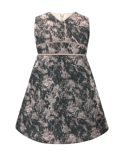 Floral Jacquard V-Neck Dress, Size 7-14