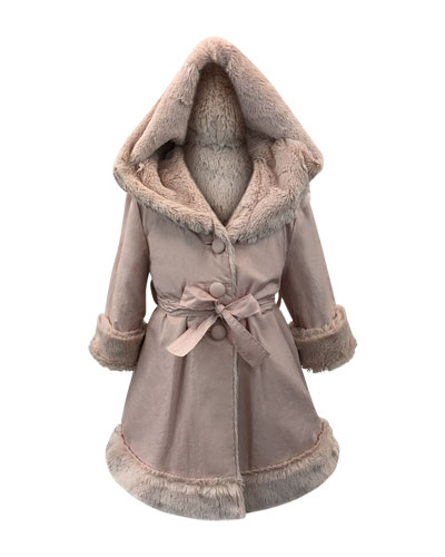 Hooded Faux Fur-Lined Reversible Coat, Size 2-6