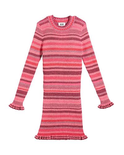Rib-Knit Metallic Stripe Dress, Size 8-14