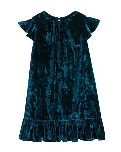Ruffle-Trim Crushed Velvet Shift Dress, Size 8-16