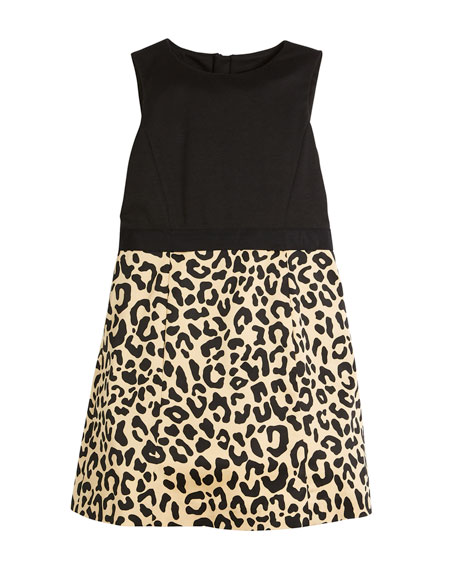 Milly Minis Panel Cheetah-Skirt Dress, Size 8-16