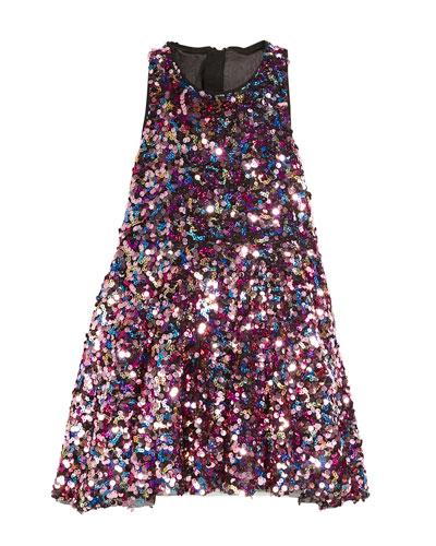 Sleeveless Sequin Flounce Dress, Size 4-7