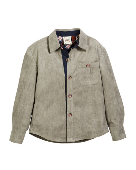 FORE Faux-Suede Button-Down Shirt, Size 2-8 in Gray