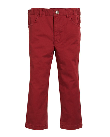 FORE Brushed Twill Pants, Size 2-8 in Red