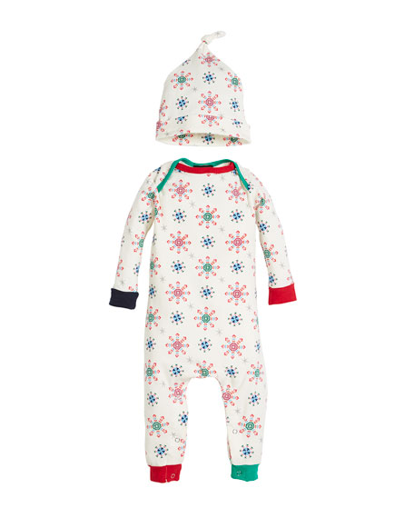Bedhead Holiday Snowflake Coverall w/ Matching Hat, Size