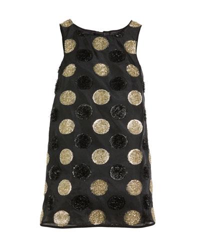 Textured Polka-Dot Angular Shift Dress, Size 4-7