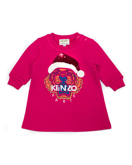Kenzo Flip Sequin Santa Tiger Sweatshirt Dress, Size