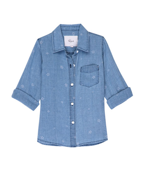 Rails Cora Star-Print Chambray Button-Down Top, Size 6-14