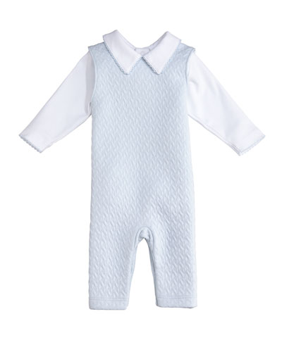 Classic Jacquard Overalls w/ Long-Sleeve Top, Size 0-9 Months