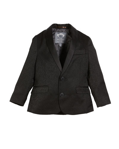 Boys' Jacquard Blazer w/ Satin Shawl-Collar, Size 4-16