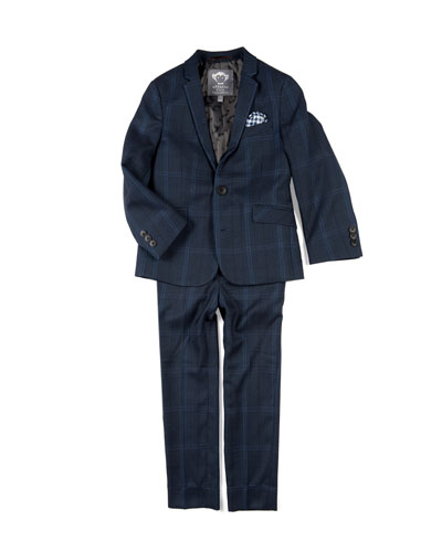 Boys' Two-Piece Mod Glen Plaid Suit w/ Gingham Pocket Square, 4-16