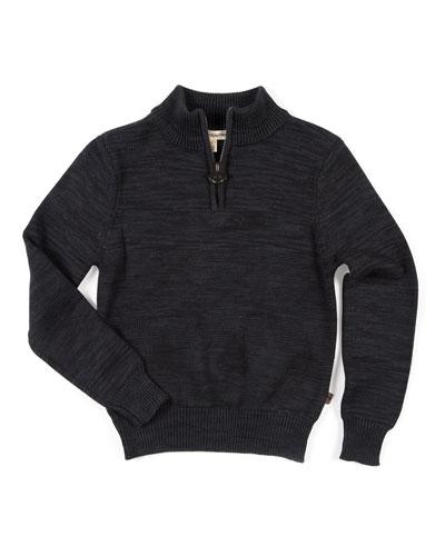 Mock-Neck Half-Zip Sweater, Size 2-14