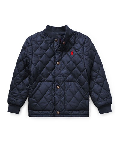 Quilted Baseball-Collar Jacket, Size 2-4