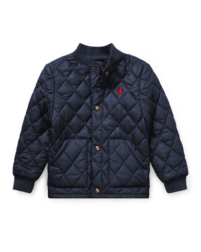Quilted Baseball-Collar Jacket, Size 5-7