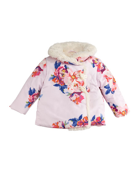 Joules Fleecey Floral Hooded Jacket, Size 6-24 Months