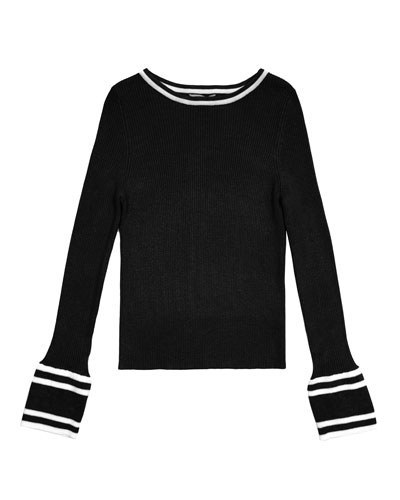 Rylie Two-Tone Rib Knit Bateau-Neck Sweater  Size 7-14