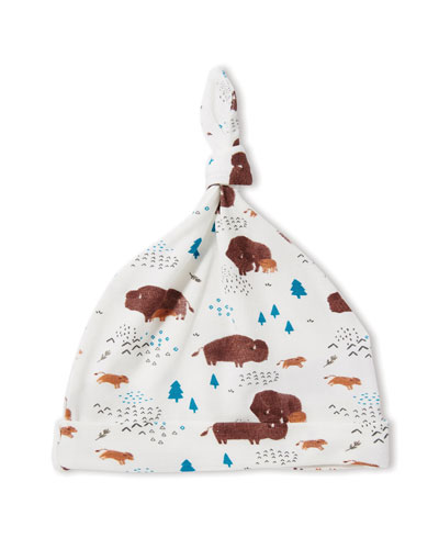 Bison-Print Knotted Baby Hat