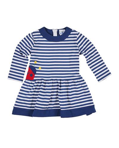 Striped Long-Sleeve Dress w/ Ladybug Applique, Size 2-6X