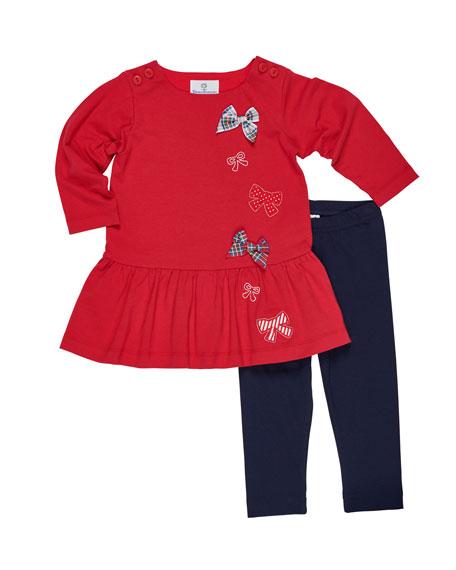Florence Eiseman Knit Bow Dress w/ Leggings, Size