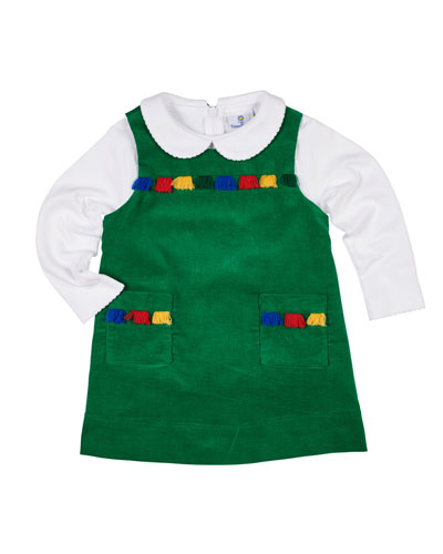 Fringe-Trim Corduroy Jumper w/ Peter Pan-Collar Top, Size 2-6X