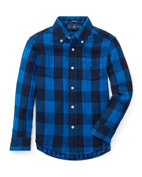 RALPH LAUREN CHILDRENSWEAR Twill Double-Face Reversible Shirt, Size 5-7 in Blue