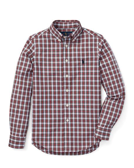 RALPH LAUREN CHILDRENSWEAR Poplin Plaid Button-Down Shirt, Size 5-7 in Red