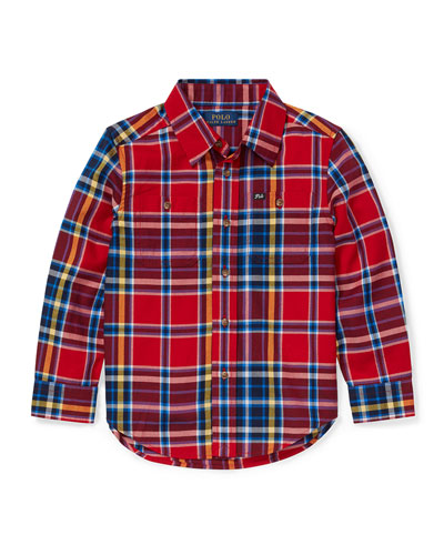 Twill Plaid Button-Down Shirt, Size 2-4