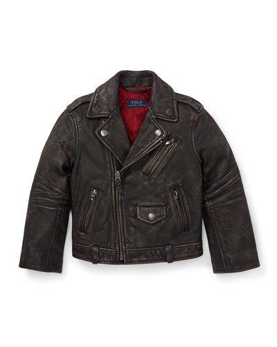 Leather Biker Jacket, Size 2-4