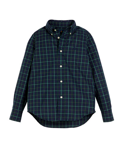 Poplin Plaid Button-Down Shirt, Size 5-7