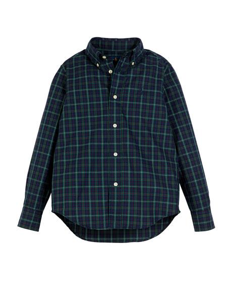 Ralph Lauren Childrenswear Poplin Plaid Button-Down Shirt, Size