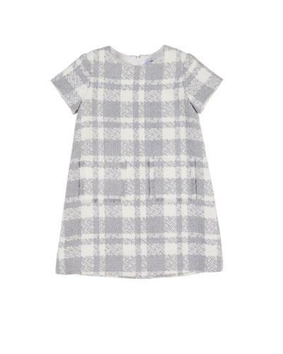 Boucle Plaid Dress w/ Fringe Pockets, Size 4-6X