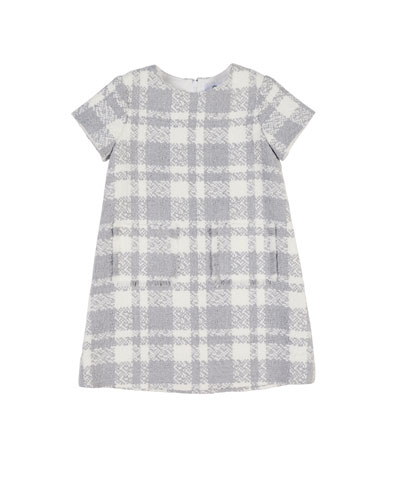 Boucle Plaid Dress w/ Fringe Pockets, Size 7-10