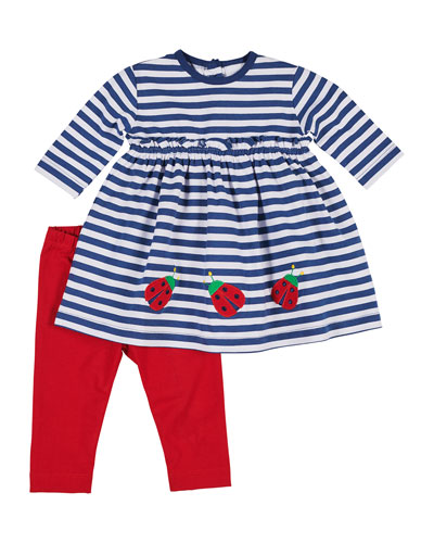 Striped Ladybug Dress w/ Bow Leggings, Size 6-24 Months