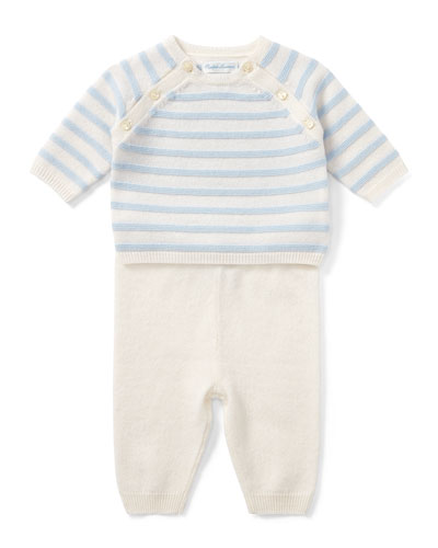 Cashmere Intarsia Stripe Top w/ Matching Pants, Size 3-9 Months
