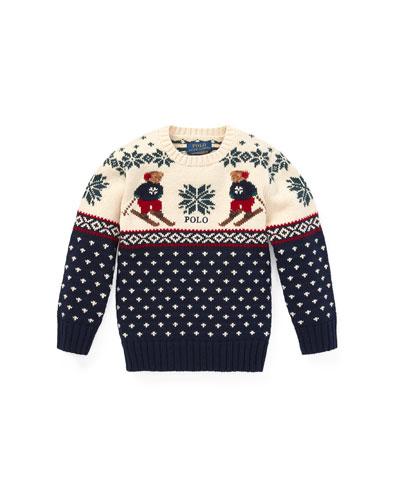 Fair Isle Bear Intarsia Sweater, Size 2-4