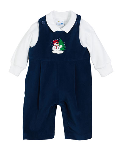 Snowman Twill Velvet Overalls w/ Solid Long-Sleeve Polo Shirt, Size 3-24 Months