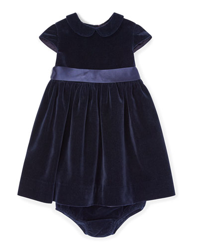 Velvet Short-Sleeve Dress w/ Matching Bloomers, Size 6-24 Months