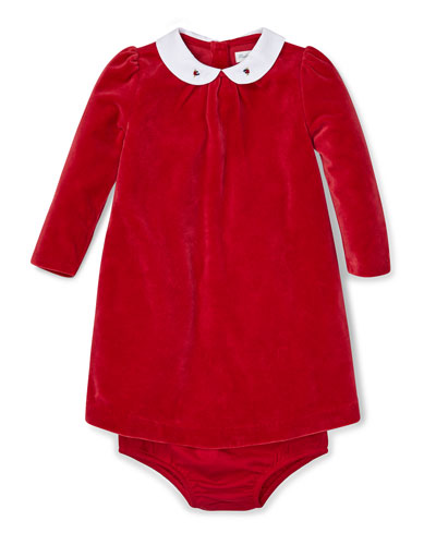 Velour Long-Sleeve Dress w/ Matching Bloomers, Size 6-24 Months